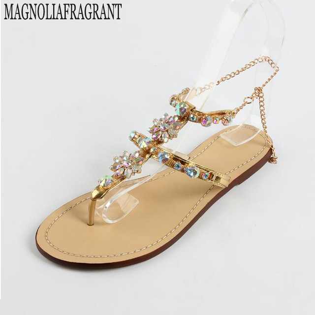 4cfbc114e05344 2017 shoes woman sandals women Rhinestones Chains Flat Sandals plus size Thong  Flat sandals gladiator sandals sandalias mujer 9