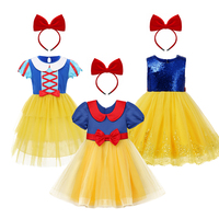 2pcs Girls Clothes Cute Snow White Princess Costume Pleated Tulle Dress Headband Kids Child Birthday Outfit for Photo Shoot 2 9Y