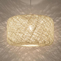 Modern LED Pendant Light Wicker Rattan Cage Lantern Shade Suspension lamps For Exhibition Hall Decor Home Pendant Lighting G023