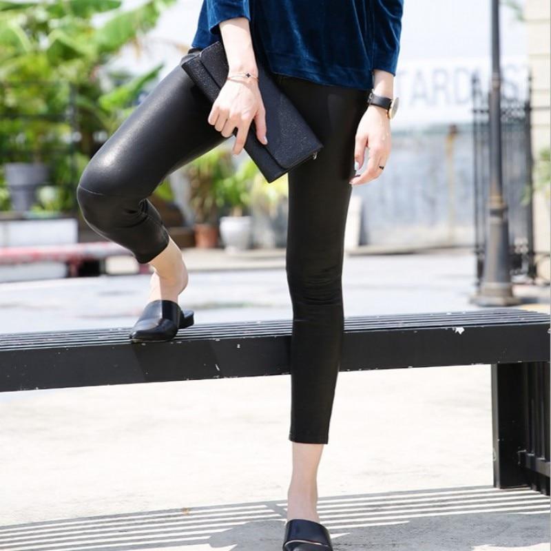 Панк рейв женские готические сексуальные леггинсы с дырками стимпанк эластичные облегающие Женские брюки модные кожаные леггинсы - 4