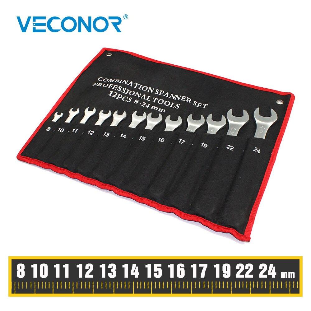 12 Pcs Combination Wrench Set, Open And Box End, Metric Mm 8, 10, 11, 12, 13, 14, 15, 16, 17, 19, 22, 24, Chrome Vanadium