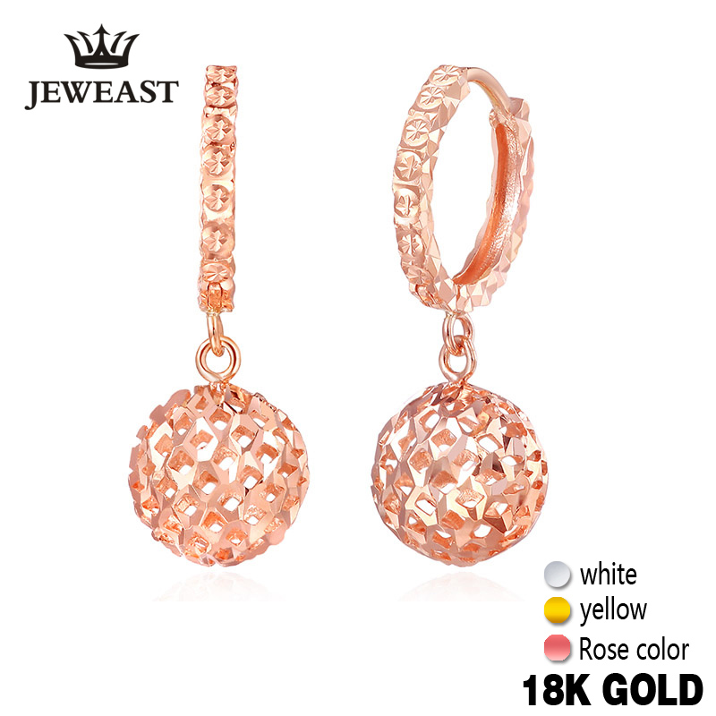18k Gold Drop Earrings Women Ball Hollow Design Rose Fine Jewelry Classic Female Cute Dangle hot Earring Party Girl Gift New цена
