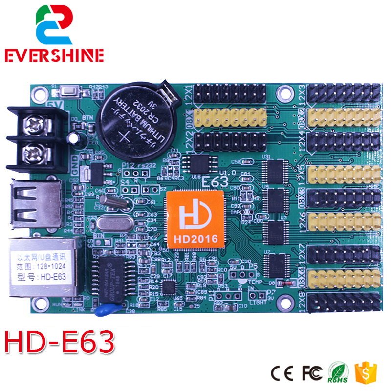 HD-E63 Network & USB Port 4*HUB08+8*HUB12 1024*128 Pixels Single and Dual Color LED Display Control Card