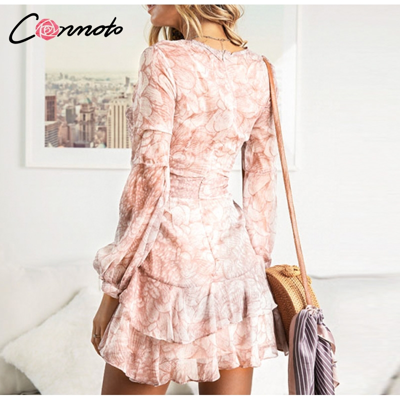 Conmoto Vintage Print Summer Dresses Female Elegant Party Short Dress Bow Sexy Ruffles Chiffon Dress Women Vestidos 2 Colors 3