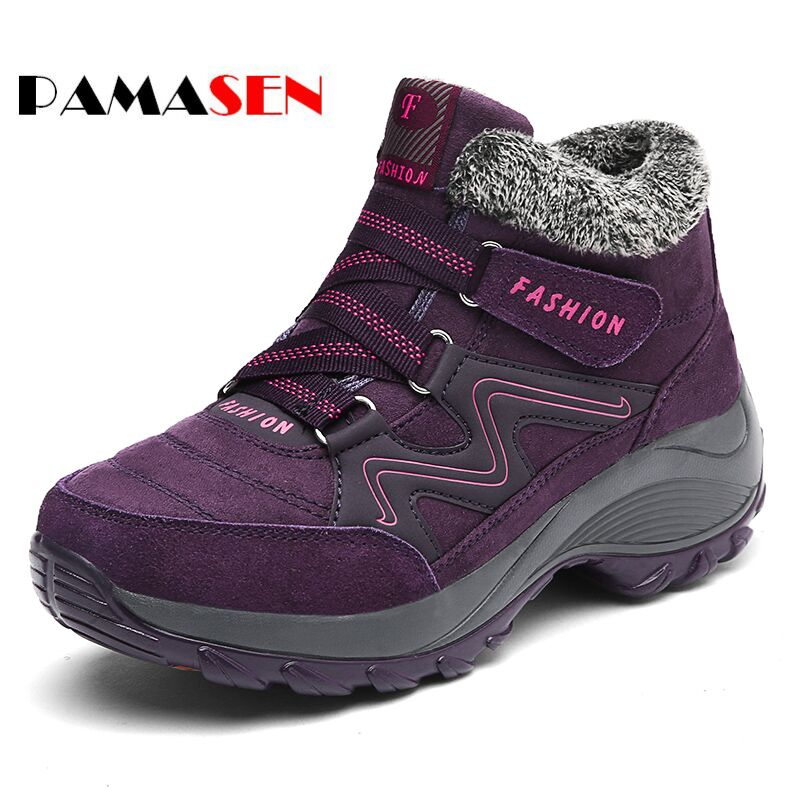 PAMASEN New fashion fur female warm ankle boots Thick Bottom Platform Waterproof women snow boots and autumn winter women shoes autumn and winter new personality retro cowhide ankle boots handsome female waterproof platform genuine leather women shoes 9731