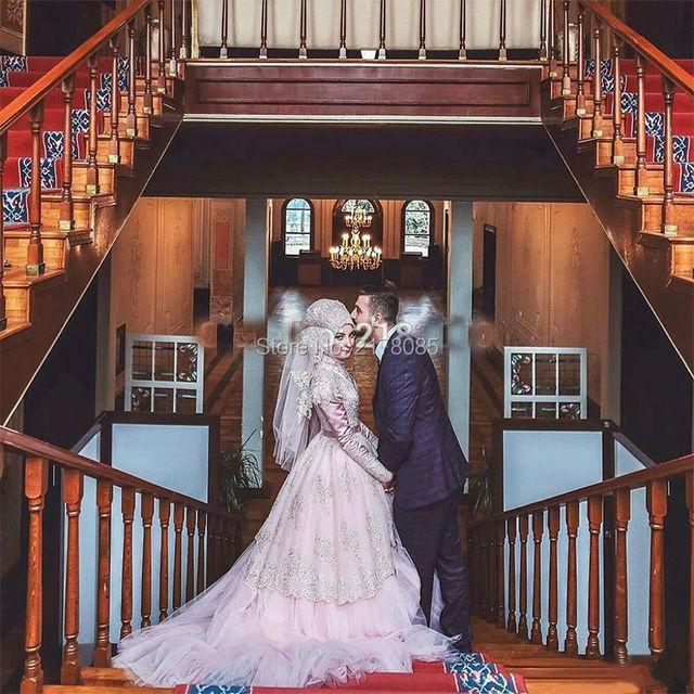 MuSlim Kaftan Pink Wedding Dresses 2017 Wedding Gowns With Hijab