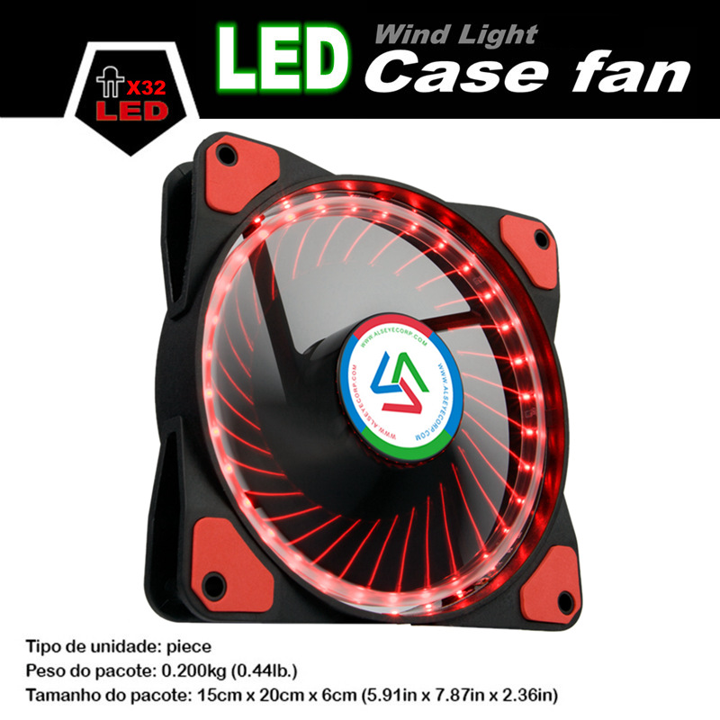 ALSEYE 120mm LED Computer Fan Cooler Red and Blue 32 LEDs Silent PC Cooling Fan for