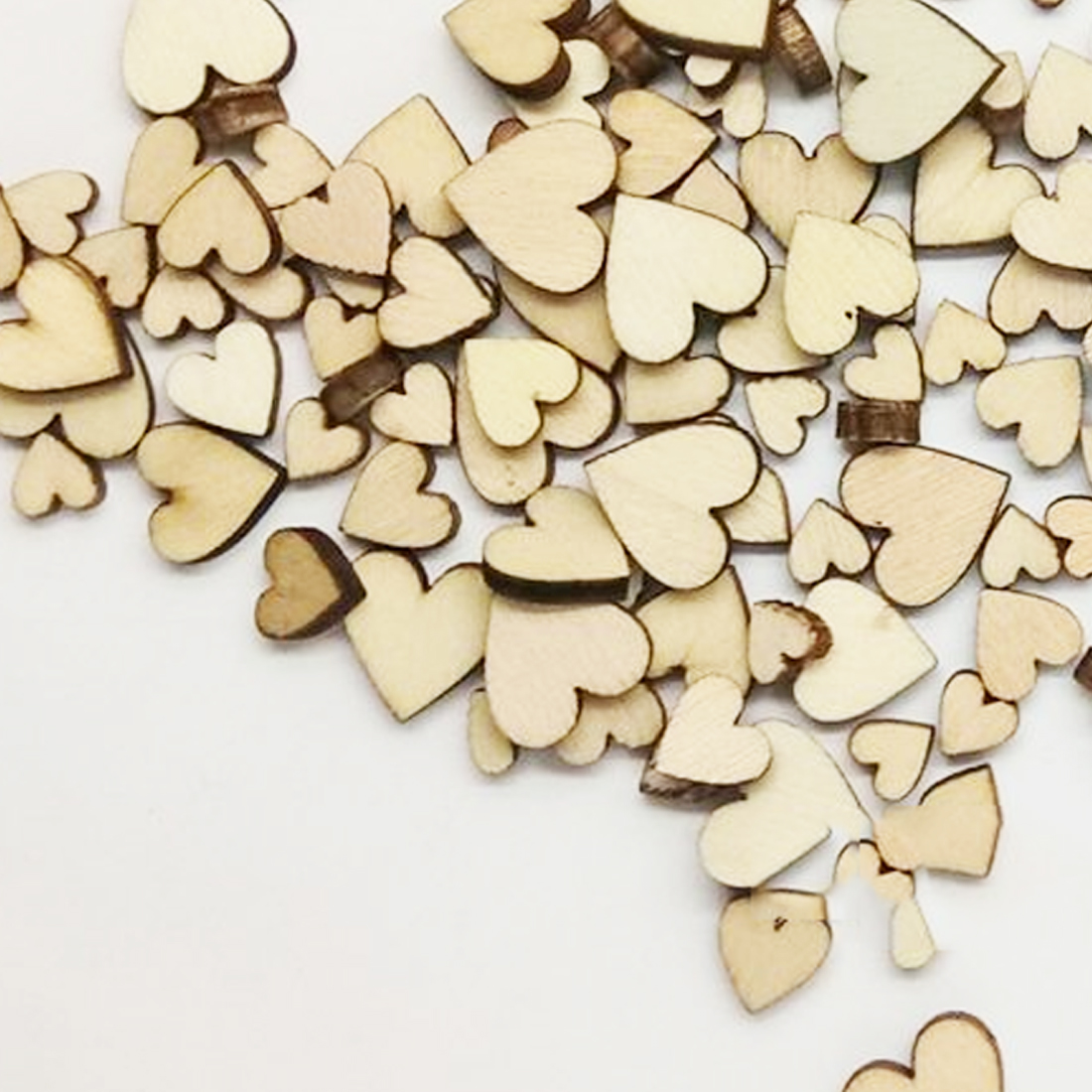 50-200pcs Wooden Heart Kids Birthday Party Diy Scrapbook Craft Wedding Gift