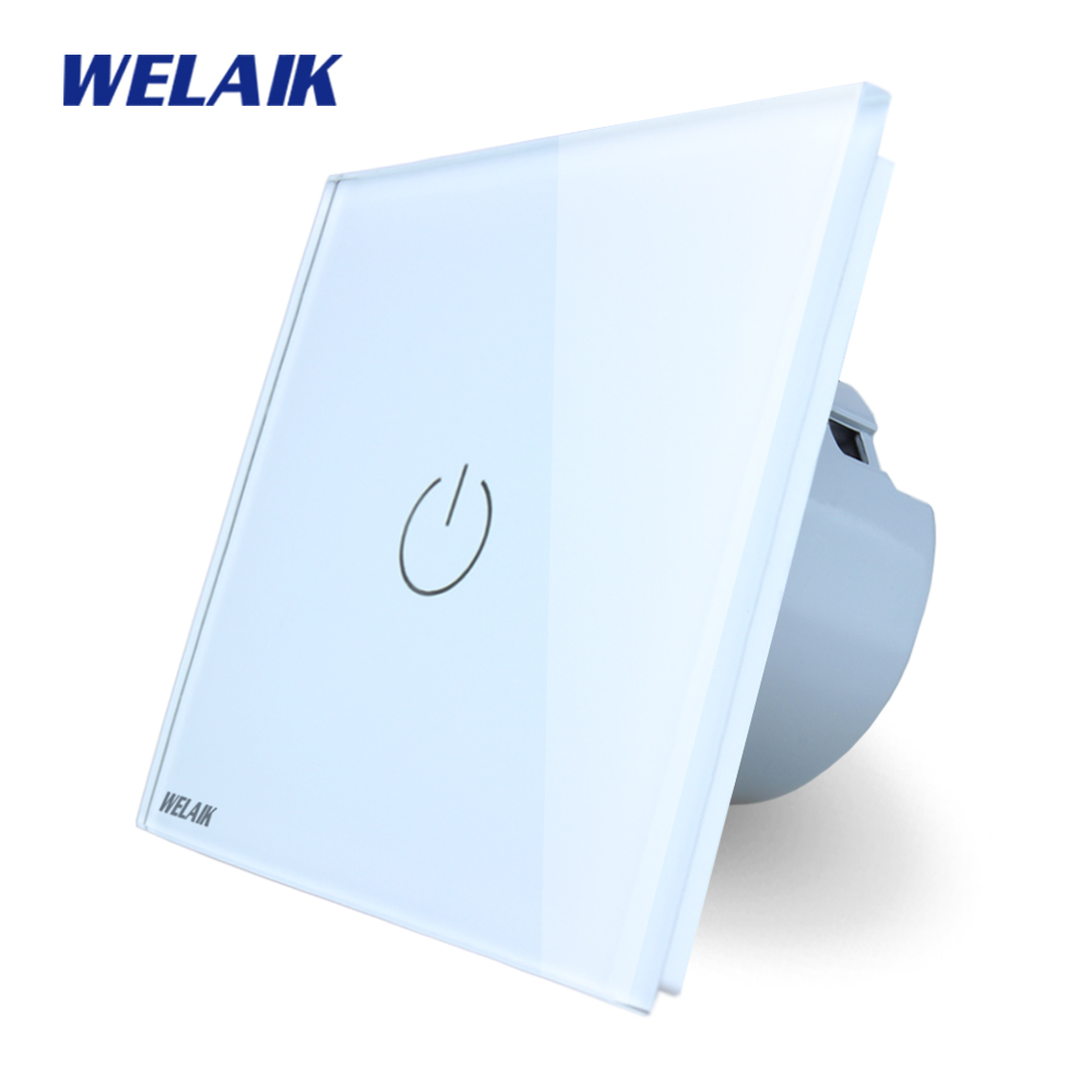 WELAIK Crystal Glass Panel Switch Wall Switch EU Touch Switch Screen Wall Light Switch 1gang1way AC110~250V  LED lamp A1911W/B welaik crystal glass panel switch white wall switch eu remote control touch switch light switch 1gang2way ac110 250v a1914w b