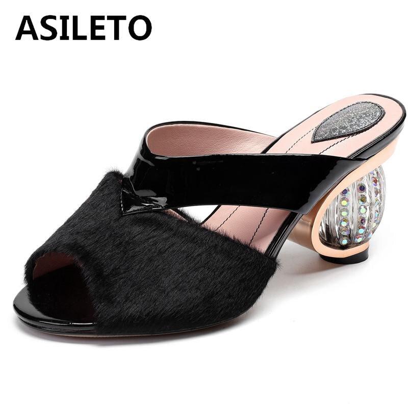 8d77139d8aa928 Black Cuir A1726 D'été Pantoufles Nouvelles Asileto Toe Chaussures À  Sandales Fourrure Vache Peep Diapositives En Talons ...