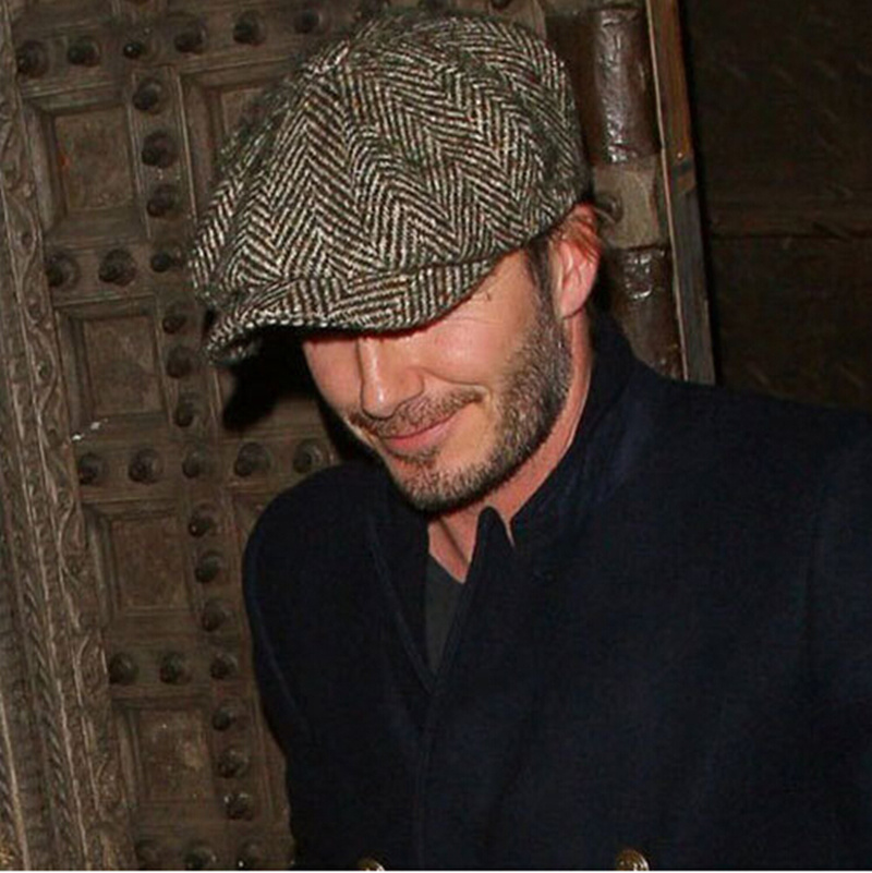 ee5912f0 High Quality 2014 David Beckham Men With Paragraph Octagonal Cap Newsboy  Caps Striped Peaked Hat Knitted