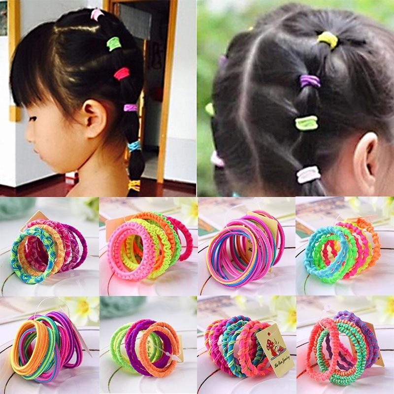 Hot Sale 10PCS/Lot  Random Color Girls Colorful Elastic Lovely Kids Children Hair Ropes Ponytail Holder Headwear