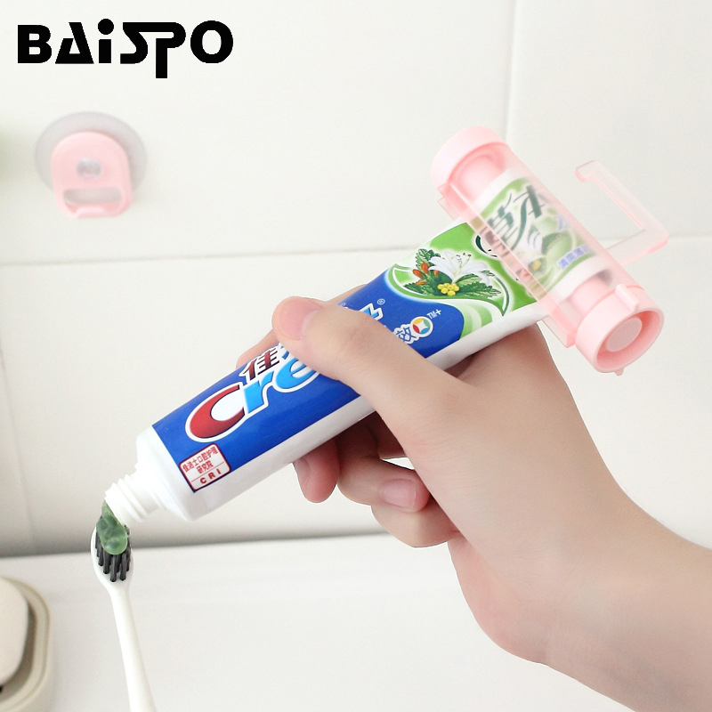 BAISPO 2pcs/set Rolling Toothpaste Squeezer Dispenser Tube Partner Sucker Hanging Toothpaste Storage Rack Bathroom Accessories