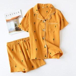 Image 3 - Double Layer Cotton Gauze Crepe Short Sleeve Shorts Pajamas for Women Plus Size Pyjamas Cartoon Printing Sleepwear Home Clothes