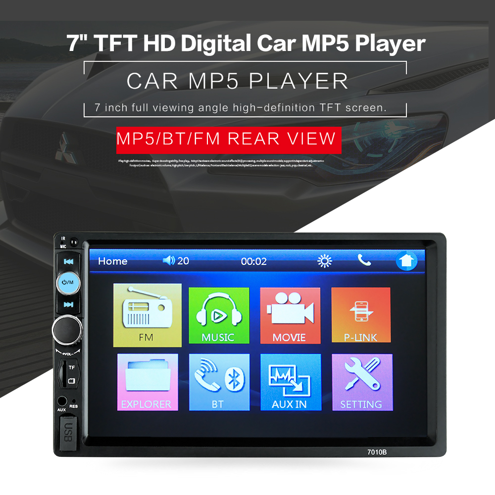HEVXM 2 Din Car Radio 7 Touch Screen Audio Stereo Video Multimedia MP5 Player FM/USB/AUX/Bluetooth Camera 7010B Universal