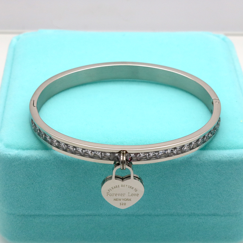 Novo Luxo Famosa Marca de Jóias de Cristal de Aço Inoxidável Pulseira De Ouro Pulseiras & Bangles Braceletss Do Amor Do Coração Para As Mulheres do Sexo Feminino