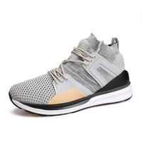 New Style High Men S Boots Black Gray Running Shoes Light Comfortable Walking Shoes Athletic Sport