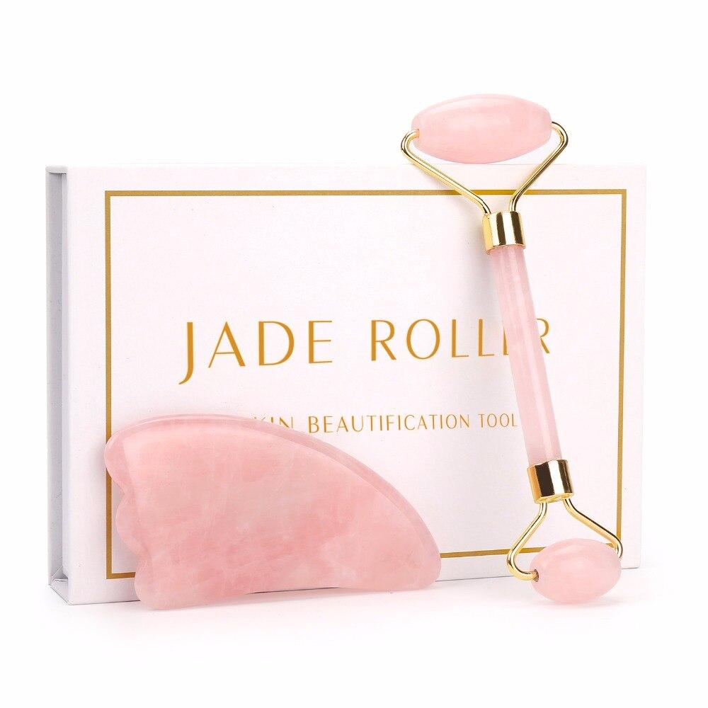 Nova Chegada Produto de Beleza Jade Gua Sha Kit Para O Cuidado Da Pele Do Rolo Para O Rosto Natural Quartzo Rosa Pedra Rolo de Beleza ferramenta Presente Da Menina