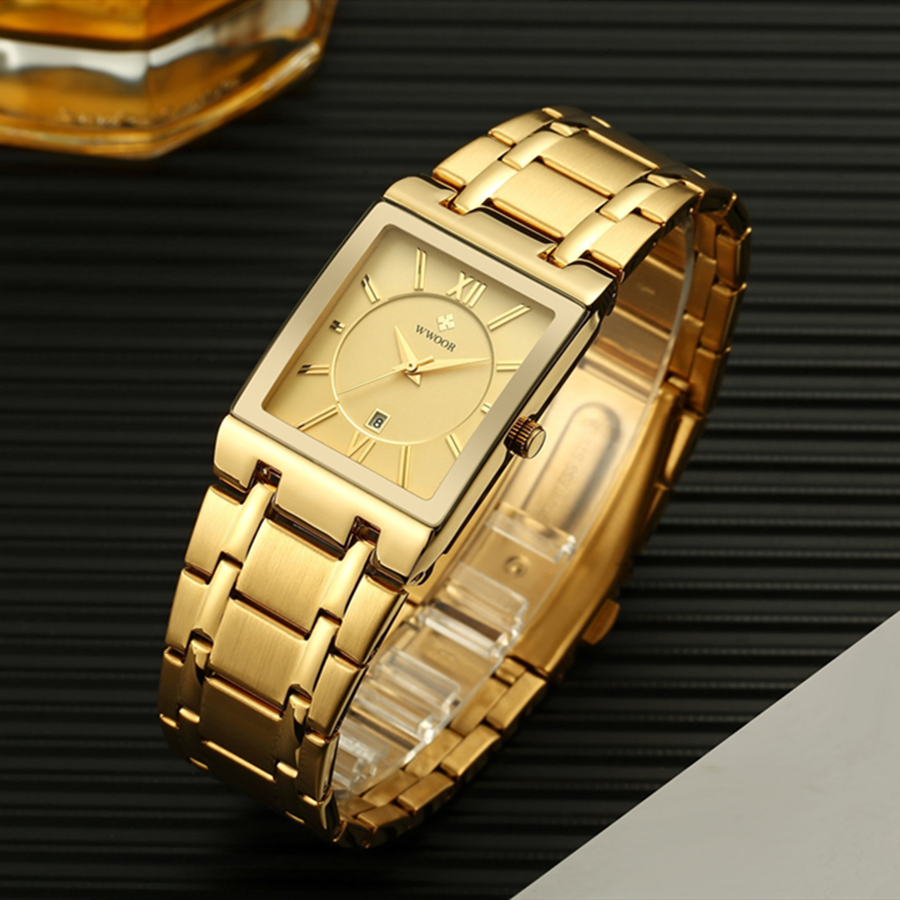 Image 4 - Square Watch Men Luxury WWOOR Stainless Steel Mens Wristwatch Calendar Man's Wrist Watches Waterproof Sports Casual Watches 2019-in Quartz Watches from Watches