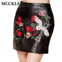 MCCKLE 2018 Mode Floral Broderie jupe Femme Sexy Noir jupe A-ligne Contraste couleur Fleur mini short PU Jupes En Cuir