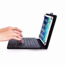 Universal 9-10 inch Wireless Bluetooth Keyboard Leather Case for Samsung Huawei Xiaomi Lenovo Android System Tablet Black