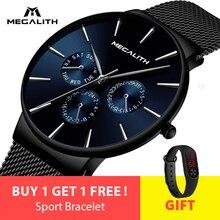 Мегалит модные Повседневное кварцевые Для мужчин часы Водонепроницаемый ультра тонкий Для мужчин s часы лучший бренд роскошных спортивных наручные часы для мужчин часы
