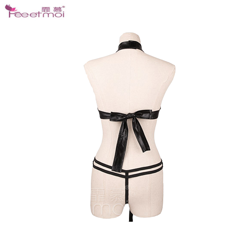 PU Leather Wild Uniform Sexy Bodysuit Punk Nail Teddy Lingerie Adjustable Magic Neck Ring Sexy Bodysuits For Sex Female Lingerie in Teddies Bodysuits from Novelty Special Use