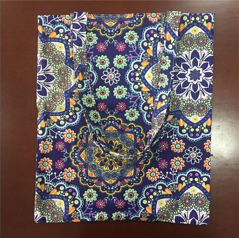 YILE Cotton Linen Eco Shopping Tote Shoulder Bag Print Round Sunflower Navy Blue L12
