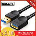 SAMZHE USB 3,0/2,0 Cable de extensión plana extender Cable AM/AF 0,5 m/1 m/1,5 m/2 m/3 m para PC TV PS4 ordenador portátil extensor