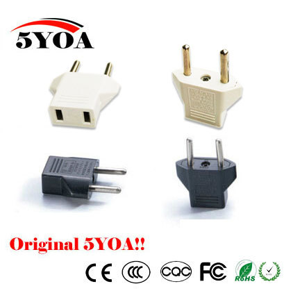 Universal US To EU Plug USA To Euro Europe Travel White Wall AC Power Charger Outlet Adapter Converter 2 Round Socket Input Pin