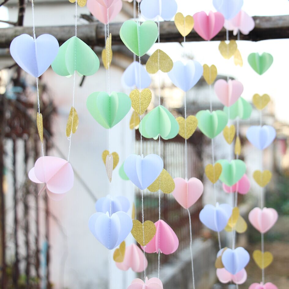 2pcs pink gold paper heart garland diy wedding curtain curtain backdrop wedding