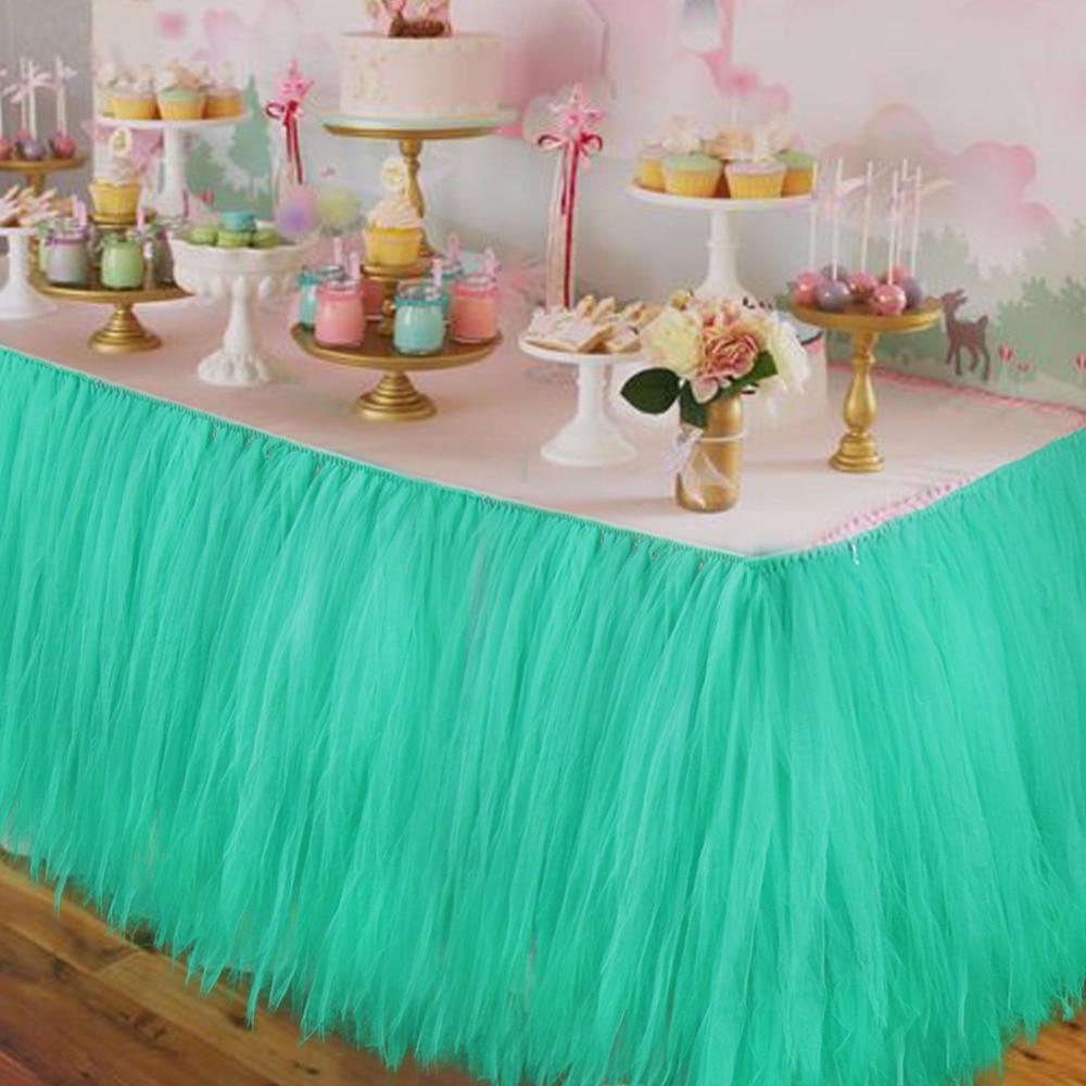 5pcs Lot Wedding Table Skirts Tulle Tutu Table Skirt For