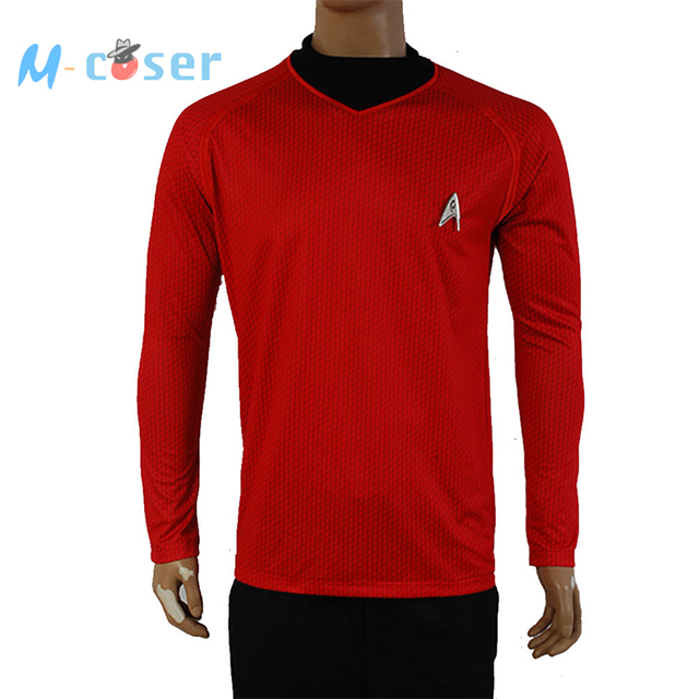 Star Trek Into Darkness Scotty Shirt Uniform Cosplay Costume Red Version For Adult Men Tops