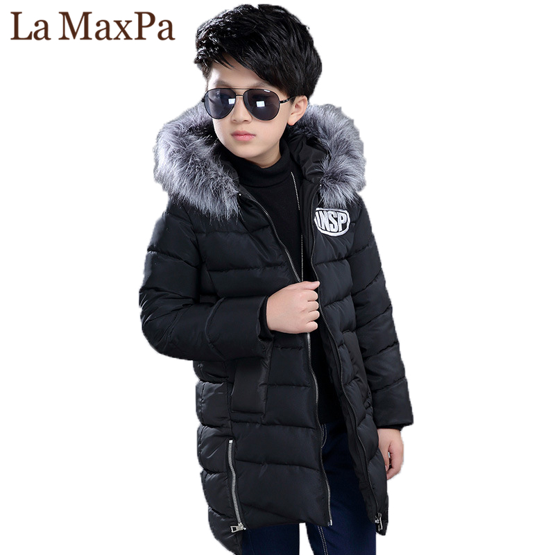 Children Winter Jackets for Boys Fur Collar Hooded Coats Camouflage Thick Padded Cotton Long Jackets Boys Parkas Warm Snowsuit 2017 new long hooded winter wadded parkas slim warm padded female jackets thick overcoat outwear winter cotton coats fp0025