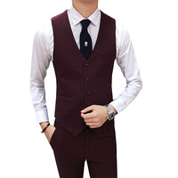 Hot Men Suit Vest Fashion Autumn New Groom Wedding Banquet Dress Vests Male Striped Sleeveless Casual Business Waistcoat