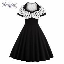 Nemidor Для женщин элегантный короткий рукав Midi A-Line свободное платье в стиле пэчворк в горошек плюс Размеры вечерние ретро рокабилли платье
