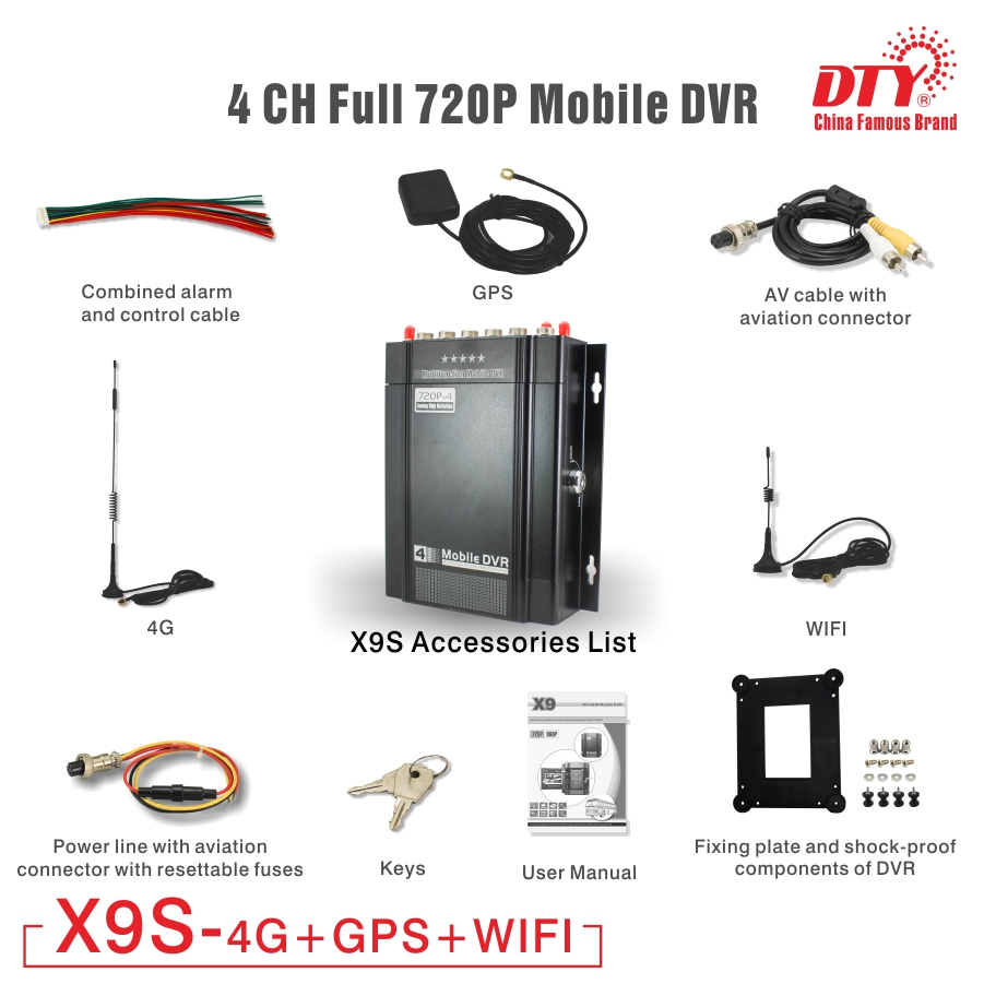 US $324 0 |X9s 4GW ( 4g+gps+wifi) Universal CMSV6 4 channel ssd 720p mdvr,  4ch hdd dvr-in Surveillance Video Recorder from Security & Protection on