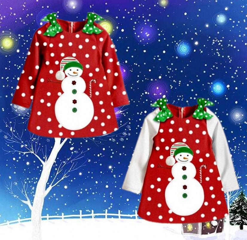 Baby Girls Christmas Dresses Kids Long Sleeve Bow Dot Snowman Winter Dress 2~7Y