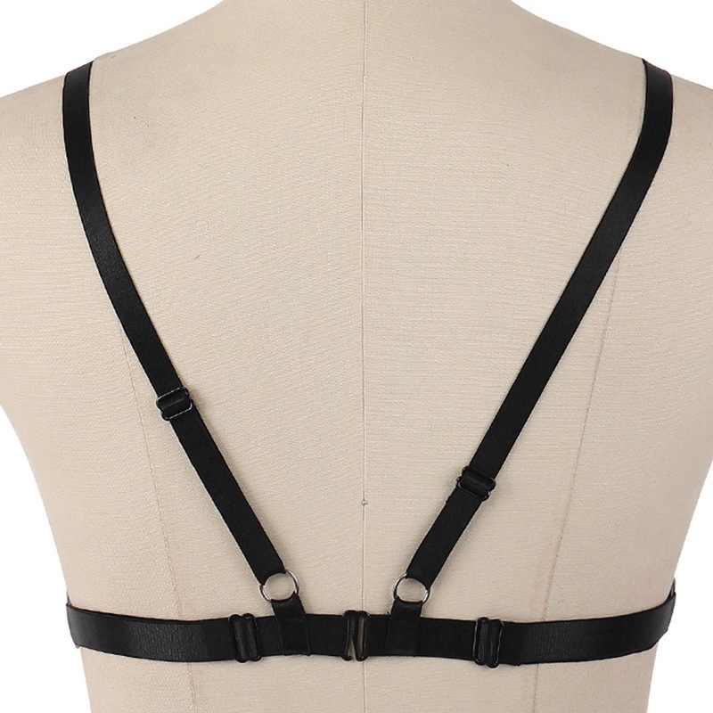 2018 mujeres Sexy encaje arnés sujetador Liga cinturón negro elástico cintura medias Suspender Goth Punk Bondage Body Cage bragas Lencería