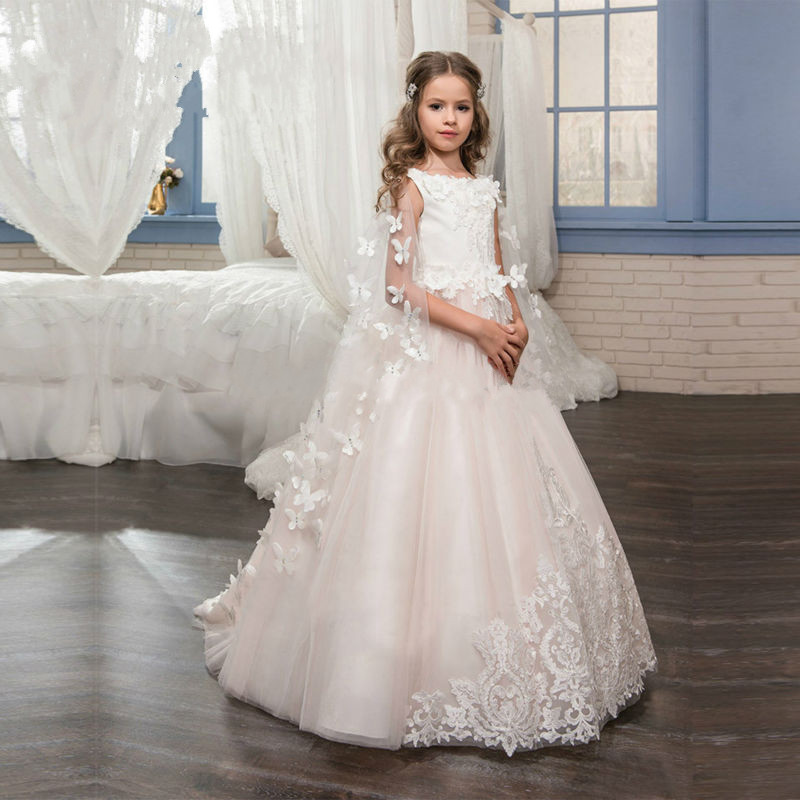New 2019 First Communion   Dress   for   Girls   3D Butterfly Appliques Ball Gown   Flower     Girl     Dresses   Vestidos Longo Kids Pageant Gowns