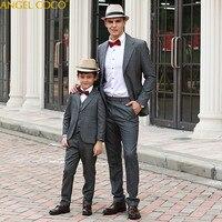 Семья подходящая друг к другу одежда для папы и сына комплекты одежды костюмы для мальчиков на свадьбу костюм Enfant Garcon Mariage Terno Masculino
