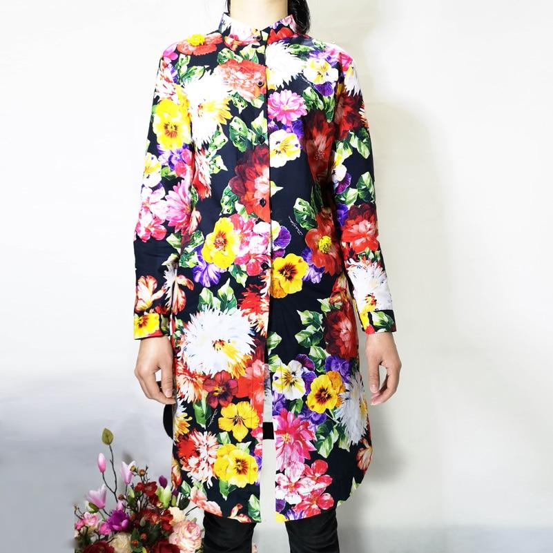 Hohe qualität designer Blusas mujer de moda frauen Langarm Blume Druck Pailletten Perlen Luxus Vintage Baumwolle Lange Shir-in Blusen & Hemden aus Damenbekleidung bei  Gruppe 2
