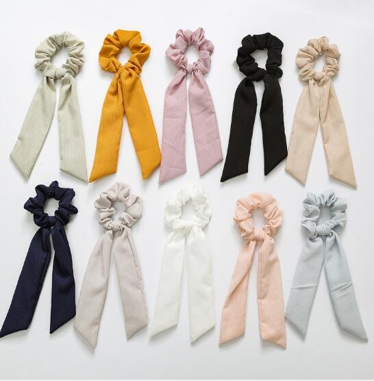 2019 Spring Bow Scrunchie Women Hair Accessories Girls Hair Ties Rubbon Rope Print Elastic Hair Bands Long Head Scarf