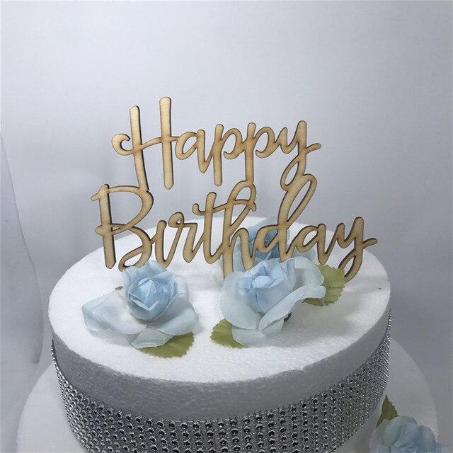 Wooden Happy Birthday Cake Topper Decoration WhiteBlackGlodSilver