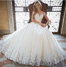 Luxury A Line Wedding Dresses Appliques See Through Back 2017 Bridal Dresses Party Gowns Fairytale Princess Robe De Mariage