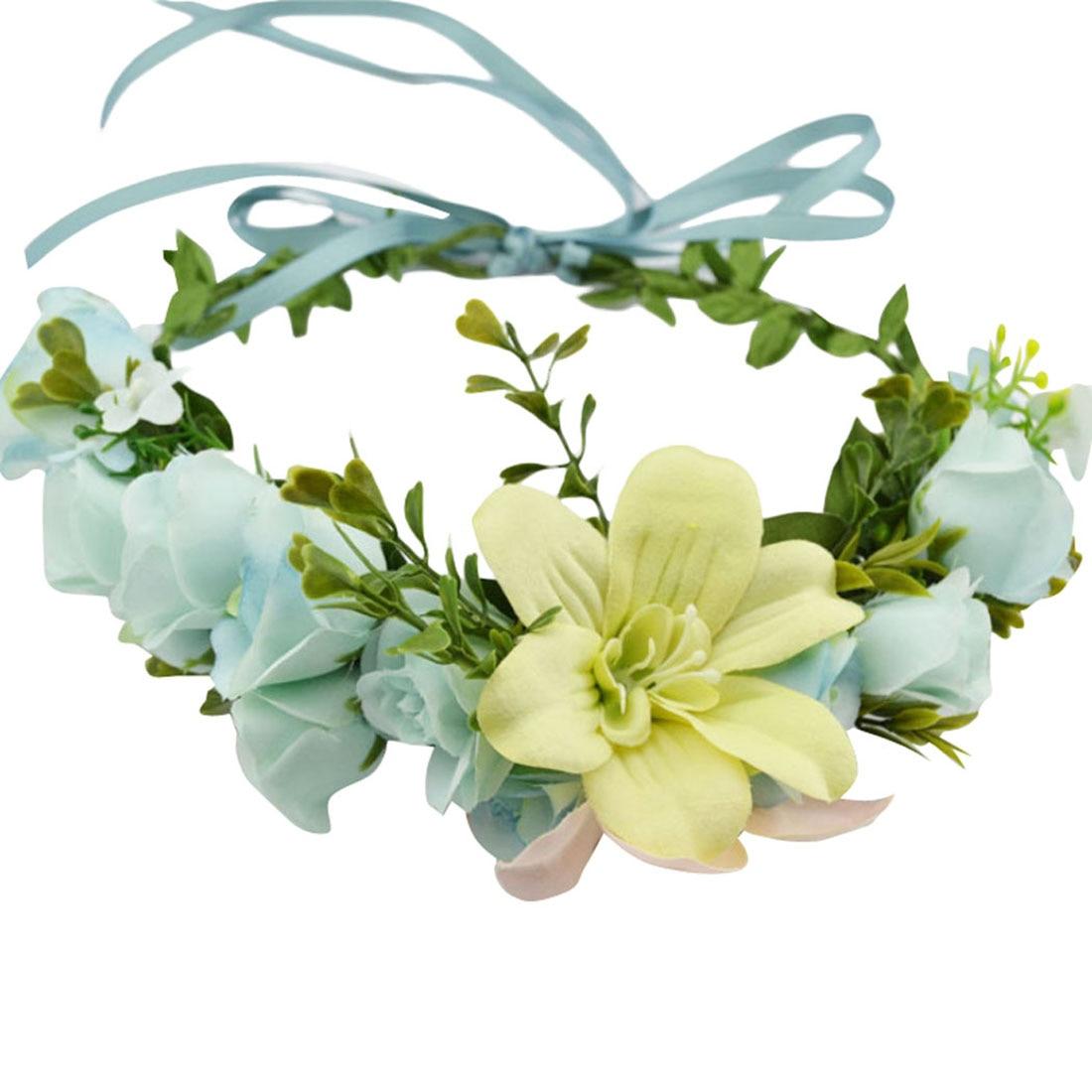 Zebery Wedding Flower Ribbons Lily Flower Wreath Crown Headband Bridesmaid Bridal Headwear Wreath Party Hair Props