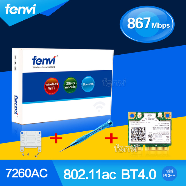Fenvi Wlan Адаптер Для Intel Dual band Wireless-AC 7260 7260HMW 802.11ac 867 Мбит Wi-Fi Bluetooth 4.0 + Отвертка + Кронштейн Адаптер