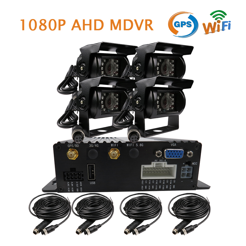 Free Shipping 4CH GPS WIFI 1080P AHD SD Car DVR MDVR Video Recorder Realtime View via PC Phone Side / Rear View Duty Car Camera free shipping g sensor h 264 hdd 4ch 720p ahd car dvr video recorder metal rear side front view car camera system car monitor
