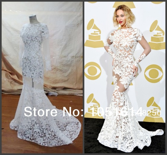 4b5a3663223e Custom Made Beyonce Bateau Lace Sexy Backless Byonce Prom Gowns Mermaid  Evening Dress 56th GRAMMY Awards