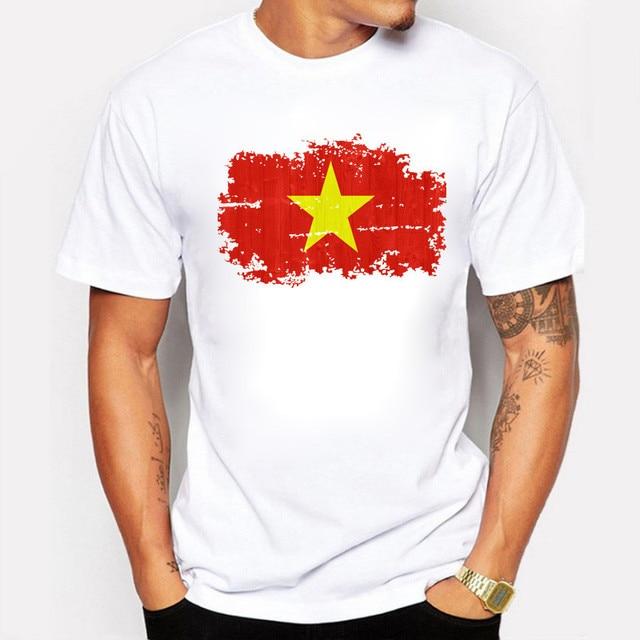 65918050 Men T Shirt fashion Vietnam Nation Flag Nostalgic print Clothing Short  Sleeve Summer White Fitness Casual